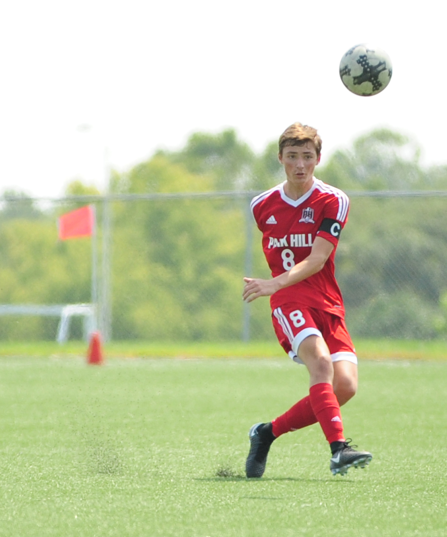 NICK INGRAM/Citizen photo Park Hill senior defender Jackson Turner hits a free kick against Oak Park on Saturday, Sept. 2 at North Kansas City District Activities Complex in Kansas City, Mo.