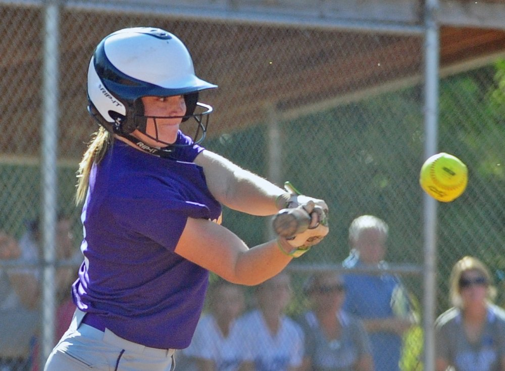 NICK INGRAM/Citizen photo North Platte senior Gracie Roach swings at a pitch against West Platte on Thursday, Sept. 7 at Benner Park in Weston, Mo.