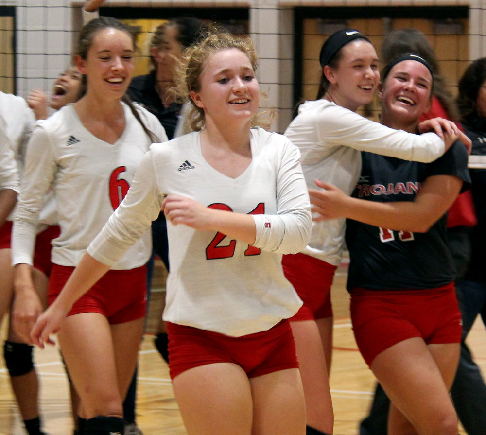 ROSS MARTIN/Citizen photo Park Hill players including Kristen Birmingham, Landyn Powell, Sabrina Lane and Kayla Huffman celebrate a win over Park Hill South on Wednesday, Sept. 6 at Park Hill High School in Kansas City, Mo.