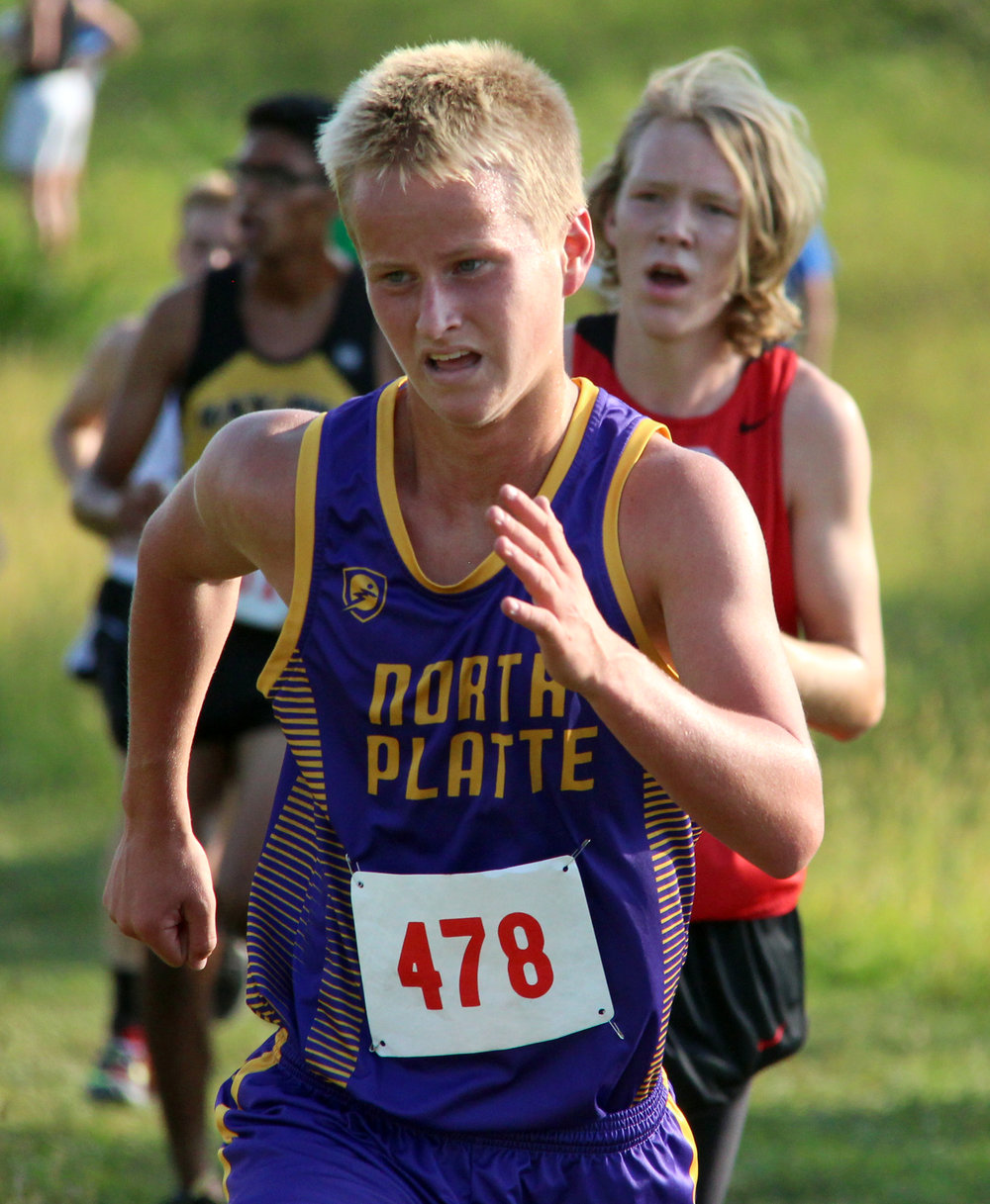 ROSS MARTIN/Citizen photo North Platte junior Tyler Meadows approaches the final turn on the course at Platte Ridge Park during the Platte County Invitational on Thursday, Sept. 14.