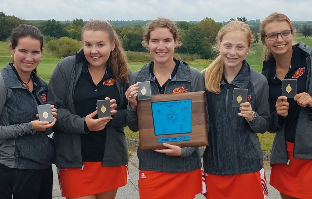 Contributed photo Platte County's Kasydie Shipp, Jessalyn Shipp, Taylor Holbrook, McKennah Houlahan and Abby White led the Pirates to a second straight Suburban Conference Blue Division title Monday, Sept. 18 at Paradise Point Golf Complex in Smithville, Mo.