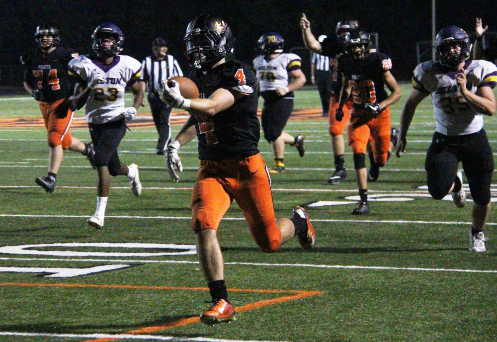 ROSS MARTIN/Citizen photo Platte County senior running back Gavin Hardman breaks away on a long touchdown run called back due to a penalty Friday, Sept. 15 at Pirate Stadium.