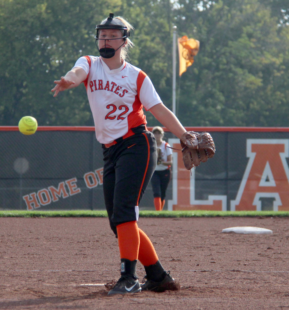 ROSS MARTIN/Citizen photo Platte County freshman Emma Koeneke delivers a pitch in the second inning against Raytown South.