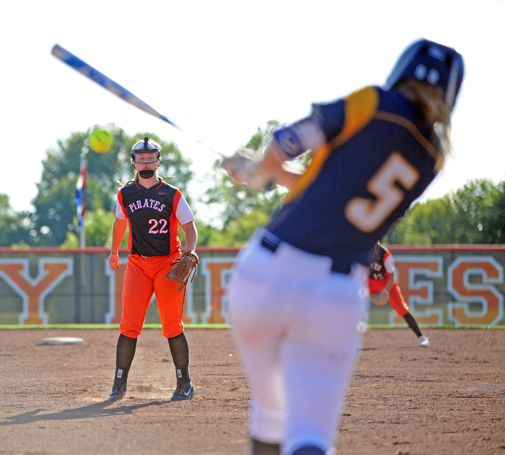 NICK INGRAM/Citizen photo Platte County freshman pitcher Emma Koeneke (22) watches a ball hit toward left field against Liberty North.
