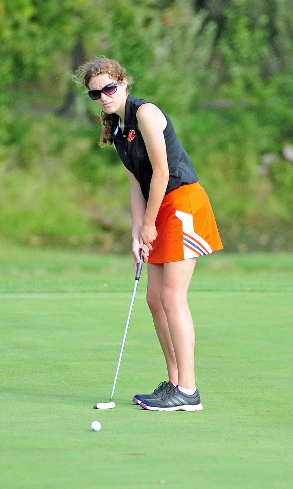 NICK INGRAM/Citizen photo Platte County junior Kasydie Shipp watches a putt during the Class 2 Sectional 4 tournament held Monday, Oct. 2 on the Posse Course at Paradise Pointe Golf Complex in Smithville, Mo.