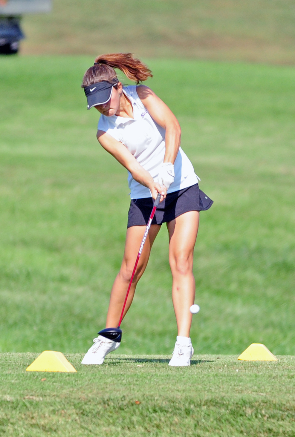 NICK INGRAM/Citizen photo Park Hill South junior Maddie Hill hits a drive during the Class 2 Sectional 4 tournament held Monday, Oct. 2 on the Posse Course at Paradise Pointe Golf Complex in Smithville, Mo.