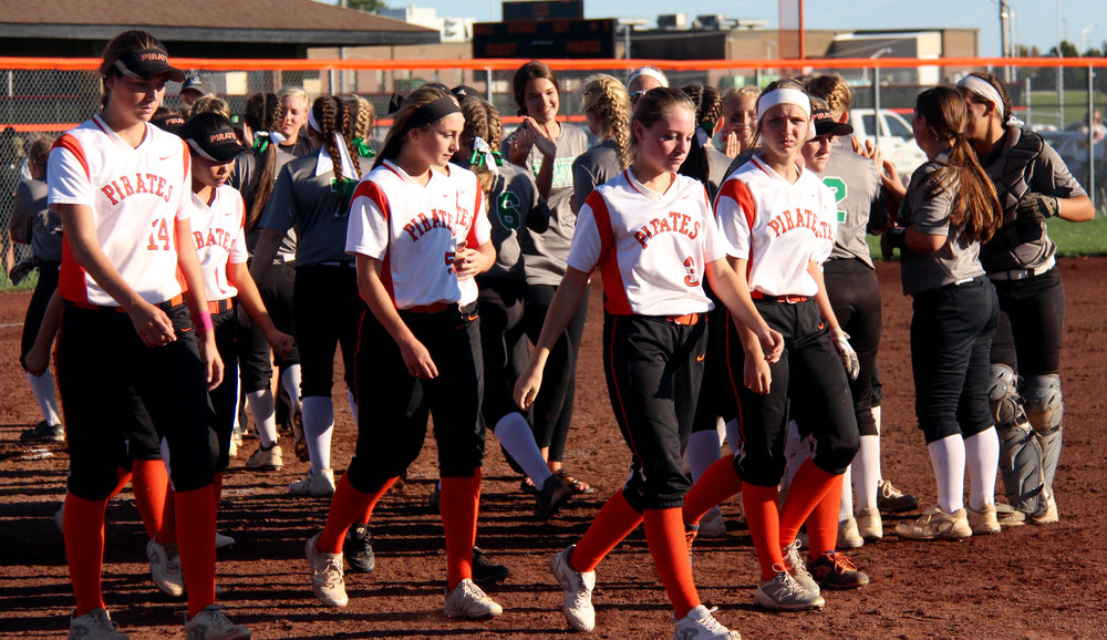 ROSS MARTIN/Citizen photo Platte County's players walk off the field following a 2-1 loss in eight innings to Smithville on Saturday, Oct. 7 in the Class 3 District 15 title game at Platte County High School.