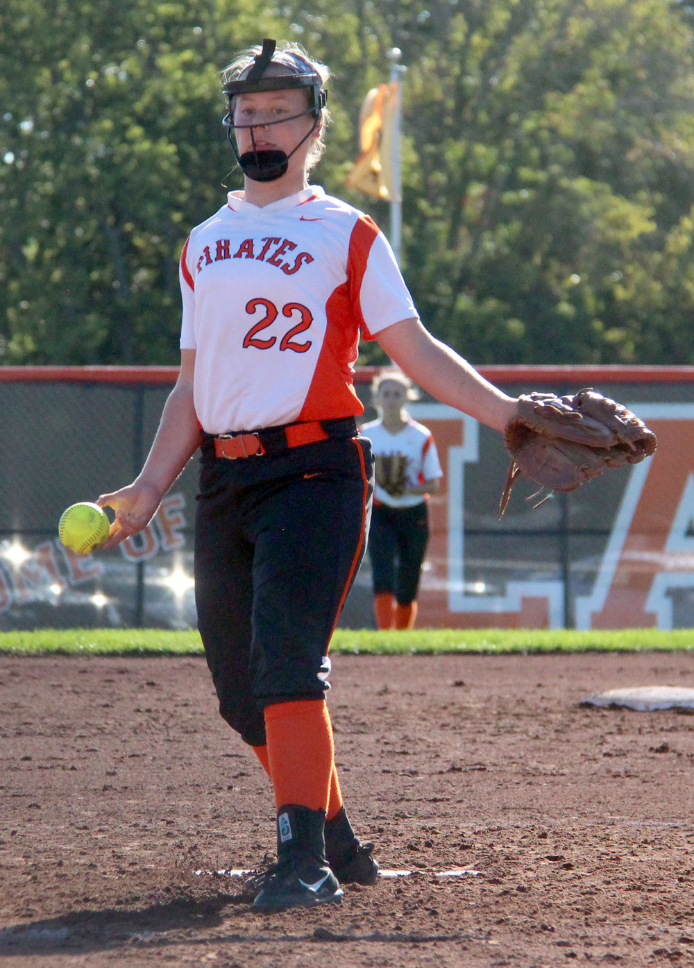 ROSS MARTIN/Citizen photo Platte County freshman starter Emma Koeneke delivers a pitch against Smithville in the Class 3 District 15 championship game.
