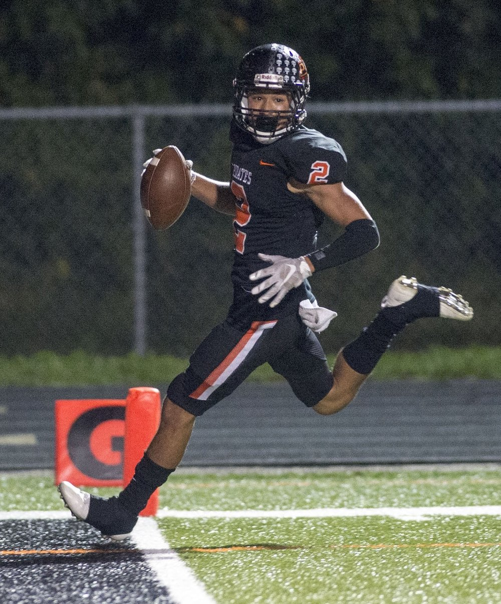 TODD NUGENT/Special to The Citizen Platte County senior safety Jackson Phan goes into the end zone for a touchdown against Winnetonka on Friday, Oct. 6 at Pirate Stadium.