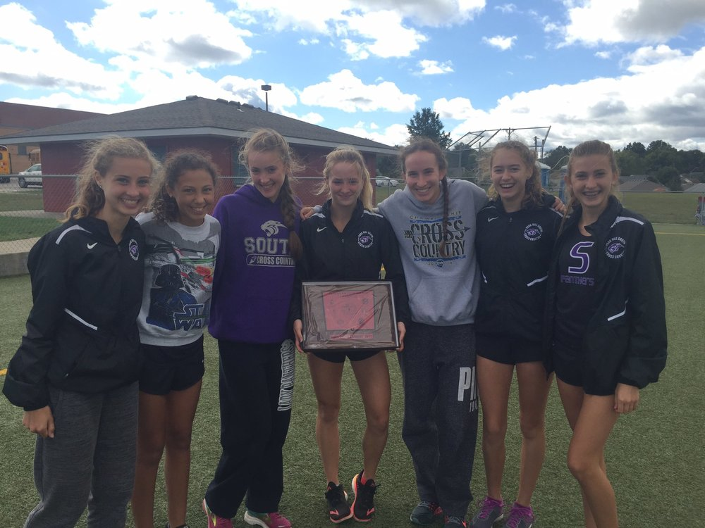 Contributed photo Park Hill South celebrated a fourth straight Suburban Conference Red Division championship Saturday, Oct. 7 in Independence, Mo. Team members include Emma Roth, Keely Danielsen, Marti Heit, Olivia Roth, Paige Snider, Skyelar Nelson and Marisa Garcia.