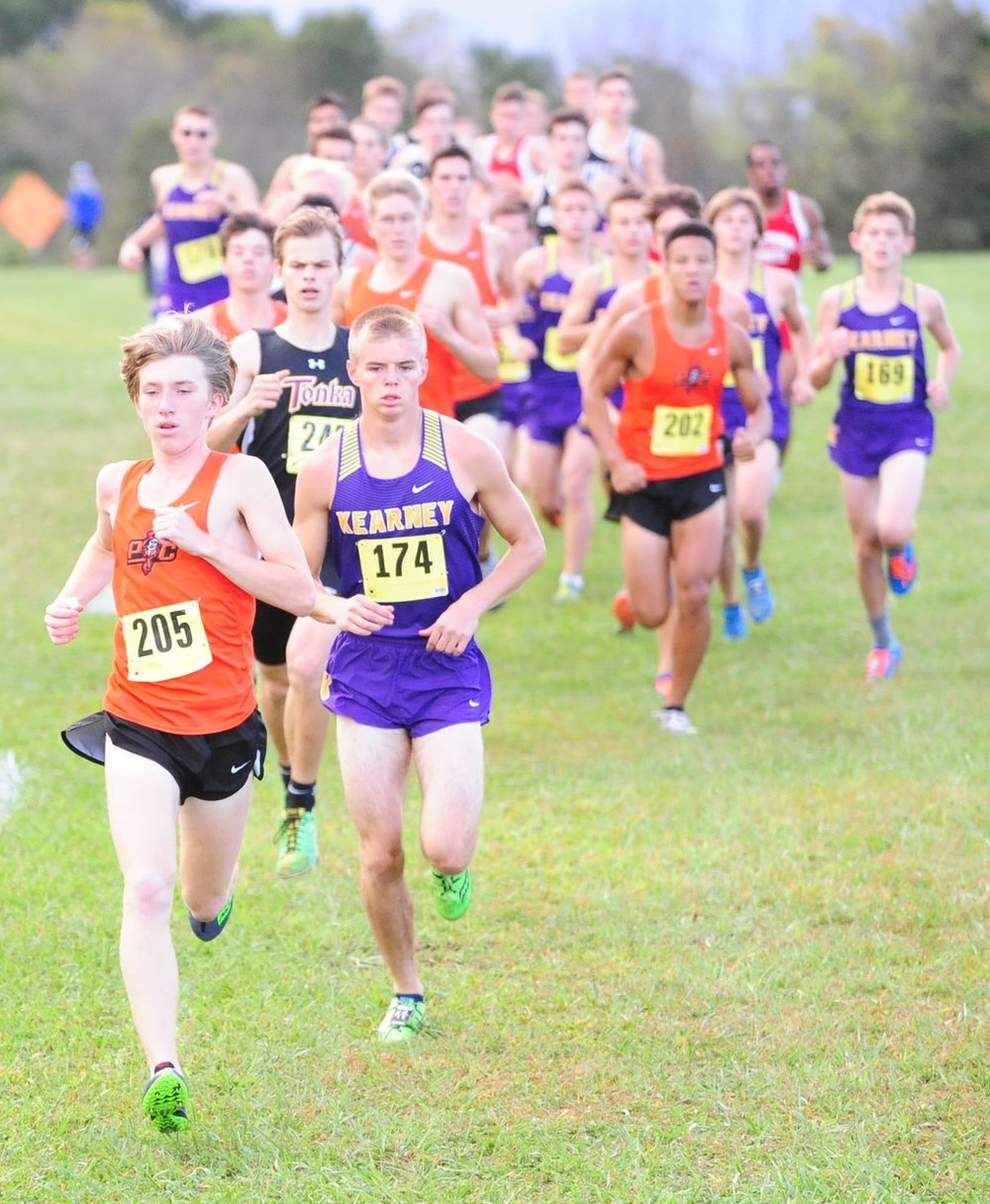 NICK INGRAM/Citizen photo Platte County junior Jackson Letcher leads the pack at the start of the Suburban Conference Blue Division Championships on Saturday, Oct. 7 at Jesse James Fairgrounds in Kearney, Mo.