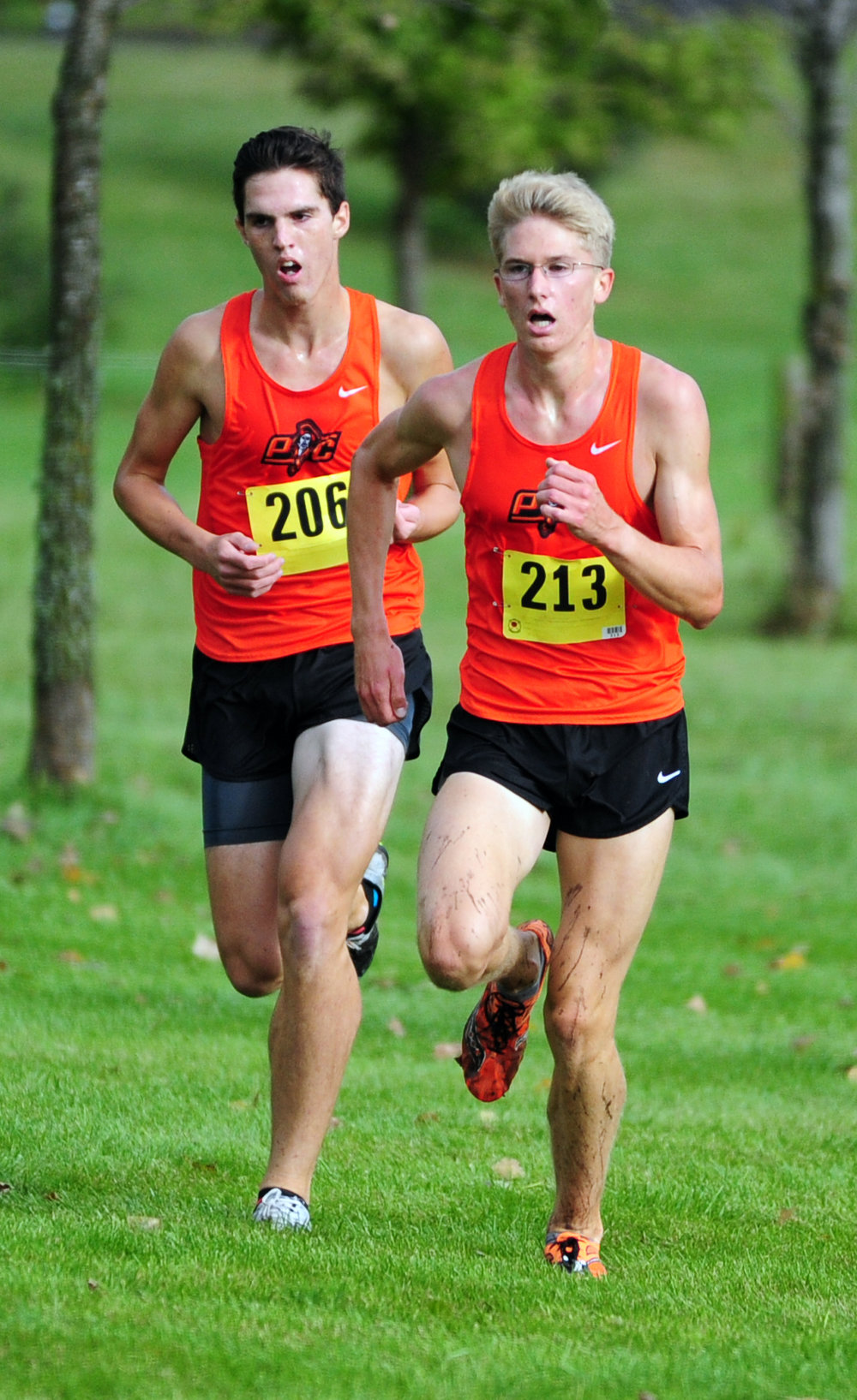 NICK INGRAM/Citizen photo Platte County junior Keegan Cordova, left, and senior Nick Bjustrom battle for position in the race.