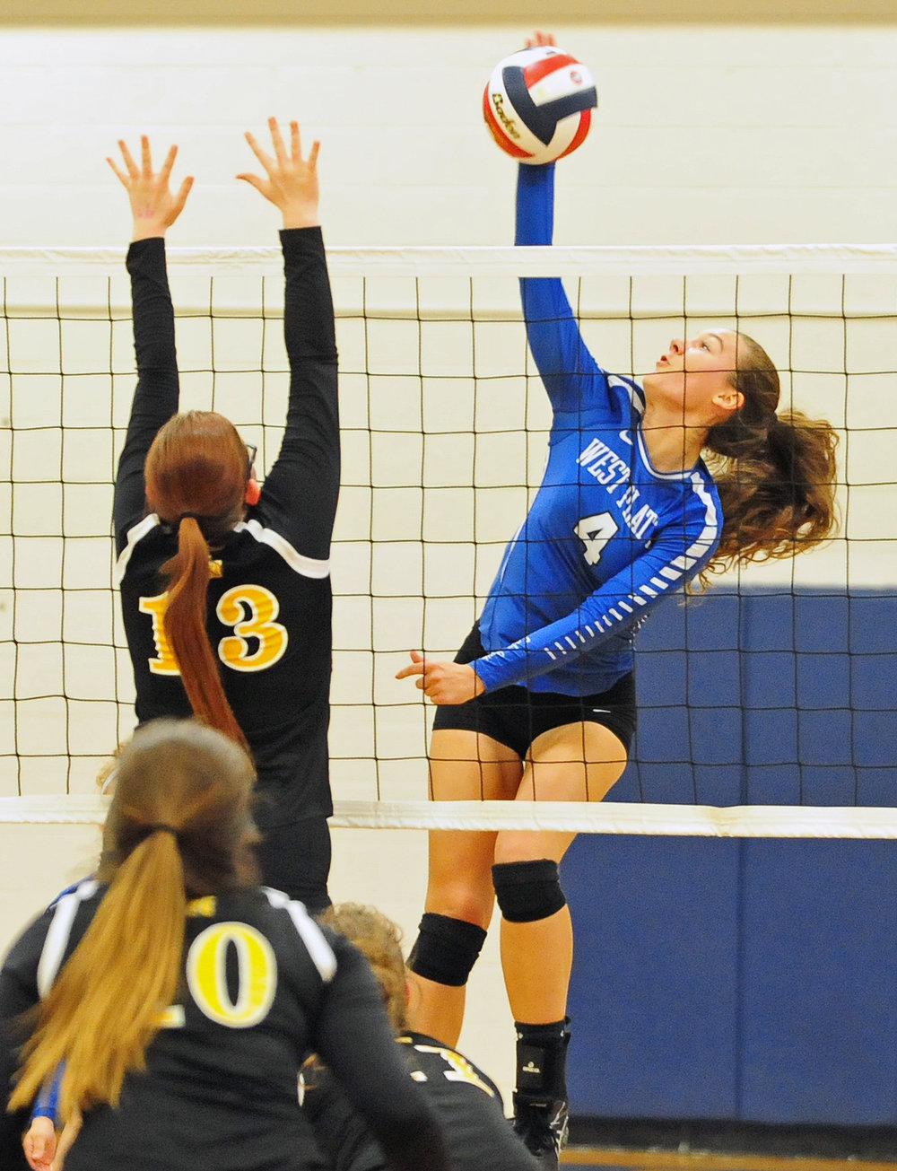 NICK INGRAM/Citizen photo West Platte senior Ciara Davies (4) hits a spike in a Class 1 District 15 match with Wellington-Napoleon on Monday, Oct. 16 at West Platte High School in Weston, Mo.