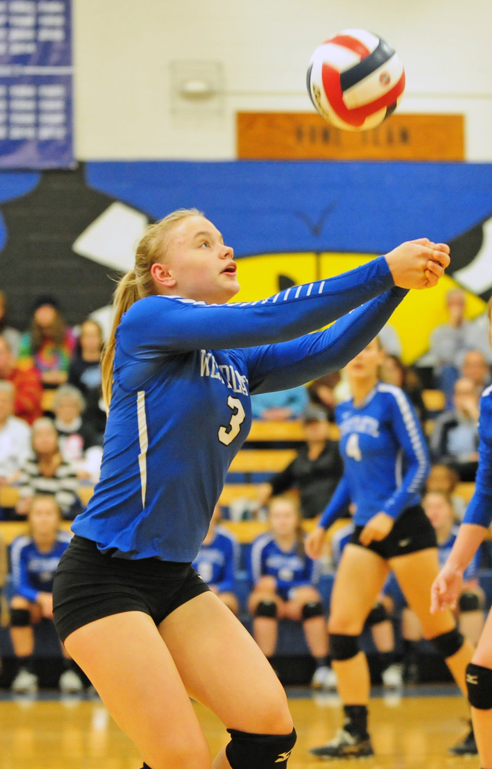 NICK INGRAM/Citizen photo West Platte sophomore Faith Stevens hits a pass in the match with Wellington-Napoleon.
