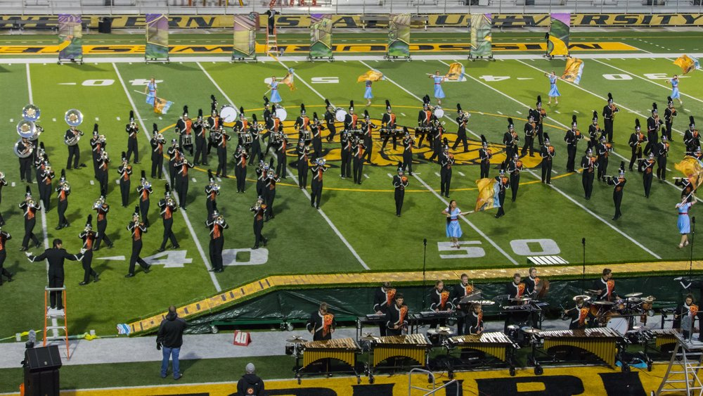 Contributed photo The Platte County Pirate Pride marching band performed their field show during the 32nd annual Missouri Western State University Tournament of Champions held at Spratt Stadium on Tuesday, Oct. 10 in St. Joseph, Mo.