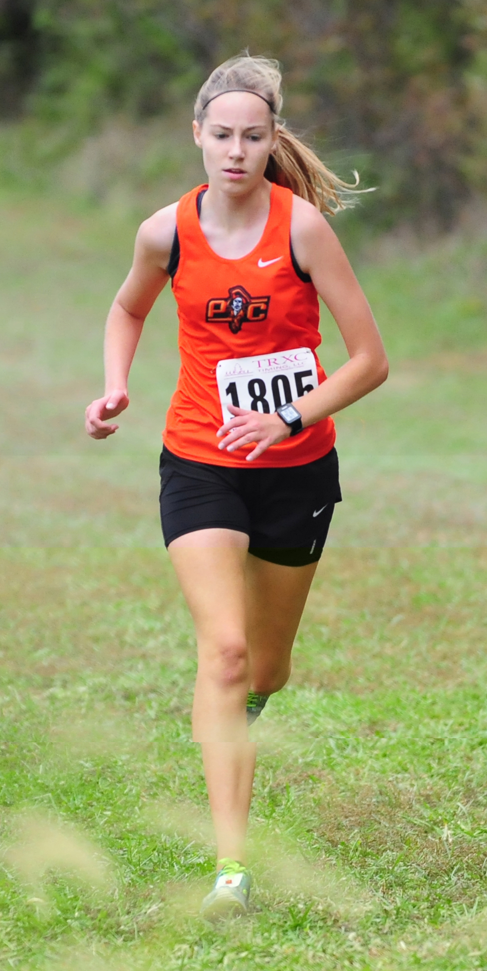 NICK INGRAM/Citizen photo Platte County senior Lauren Johnson runs by herself.