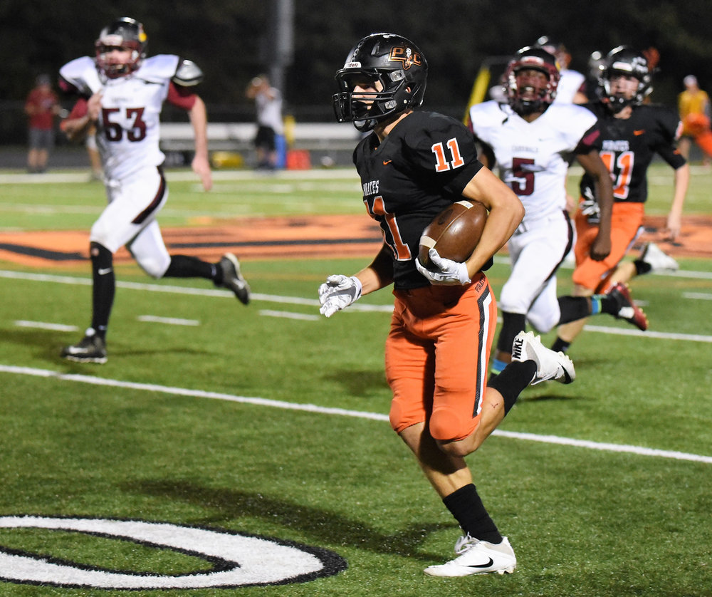 MARSHALL BLAHA/Special to The Citizen Platte County senior wide receiver Devin Richardson (11) returns a kickoff for a touchdown against Benton in a Class 4 District 8 matchup Friday, Oct. 20 at Pirate Stadium.
