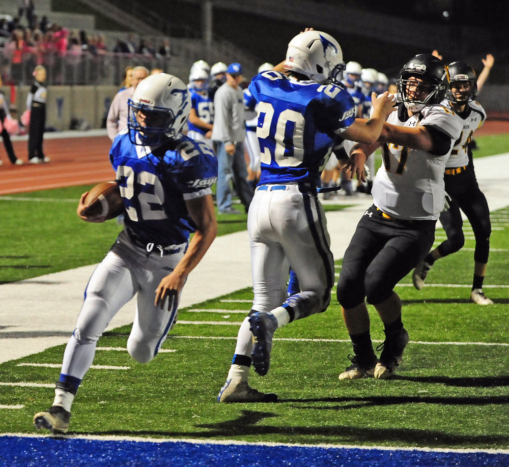 NICK INGRAM/Citizen photo West Platte junior Gavin Davis goes into the end zone on a touchdown run during a win over Orrick on Friday, Oct. 20 at Rudolph Eskridge Stadium in Weston, Mo.