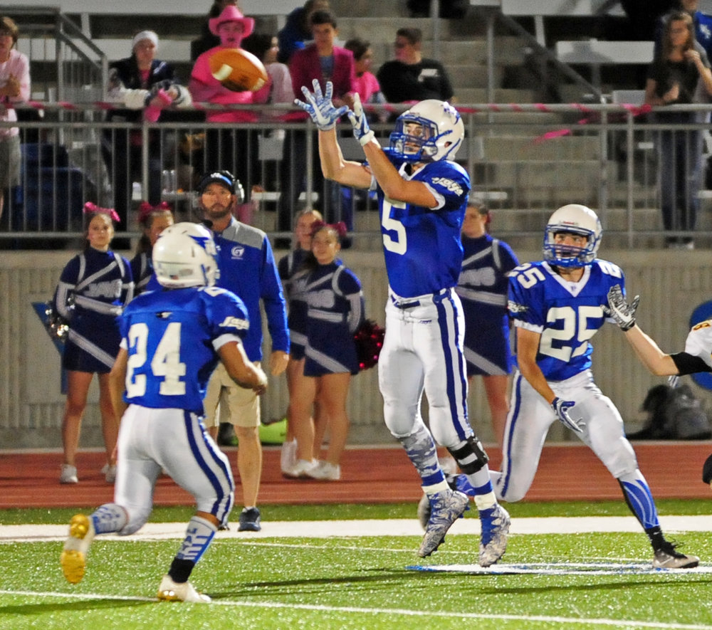 NICK INGRAM/Citizen photo West Platte senior Grant Eagen (5) goes up to make an interception against Orrick on Friday, Oct. 20 at Rudolph Eskridge Stadium in Weston, Mo.