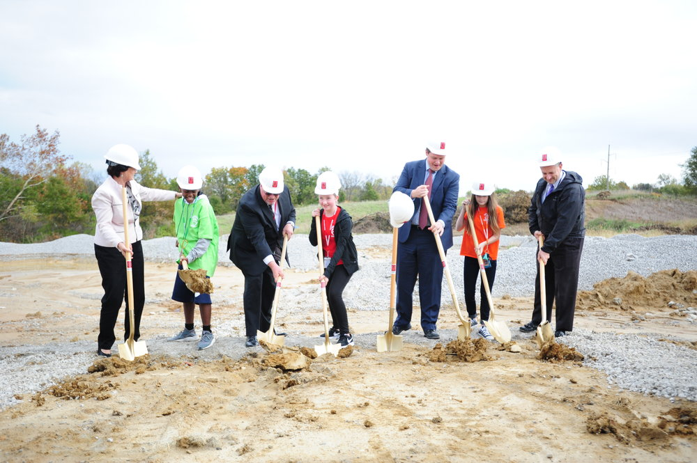 NICK INGRAM/Citizen photo Park Hill School District officials and board of education members along with students from the district officially broke ground during a ceremony Monday, Oct. 23 held for a new middle school building located at 4701 NW 56th St. in Kansas City, Mo.