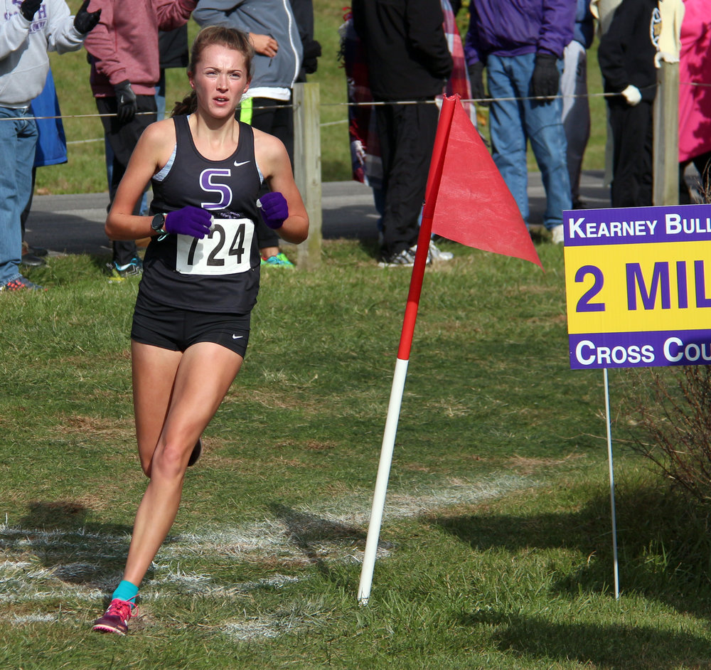ROSS MARTIN/Citizen photo Park Hill South senior Emma Roth rounds the 2-mile marker in the Class 4 Sectional 4 race Saturday, Oct. 28.