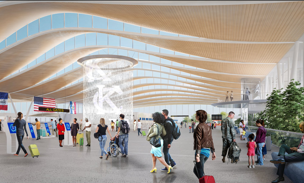 Contributed photo Edgemoor Infrastructure and Real Estate, a firm based out of Maryland, recently earned the bid from the Kansas City City Council to design and construct a new single terminal airport. These renderings released in September show what the project could look like.
