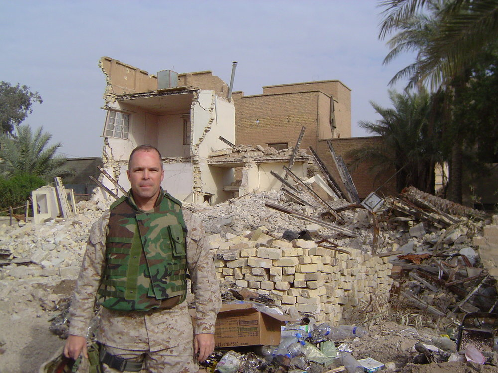 Contributed photo Mike Fogal of Platte City served active duty with the U.S. Marines as recently as 2008. He's seen here during a stint in Fallujah, Iraq in 2005 where he helped coordinate assistance for local citizens.