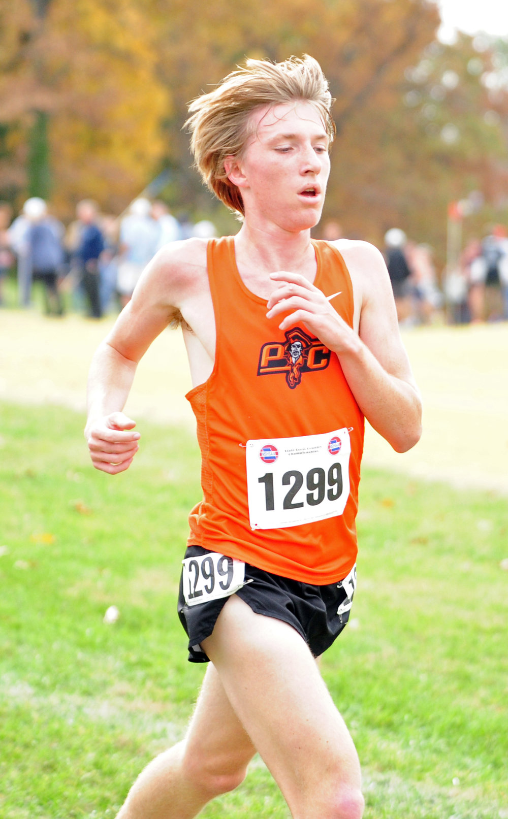 NICK INGRAM/Citizen photo Platte County junior Jackson Letcher runs in the Class 4 Missouri State Cross Country Championships on Saturday, Nov. 4 at Oak Hills Golf Center in Jefferson City, Mo.