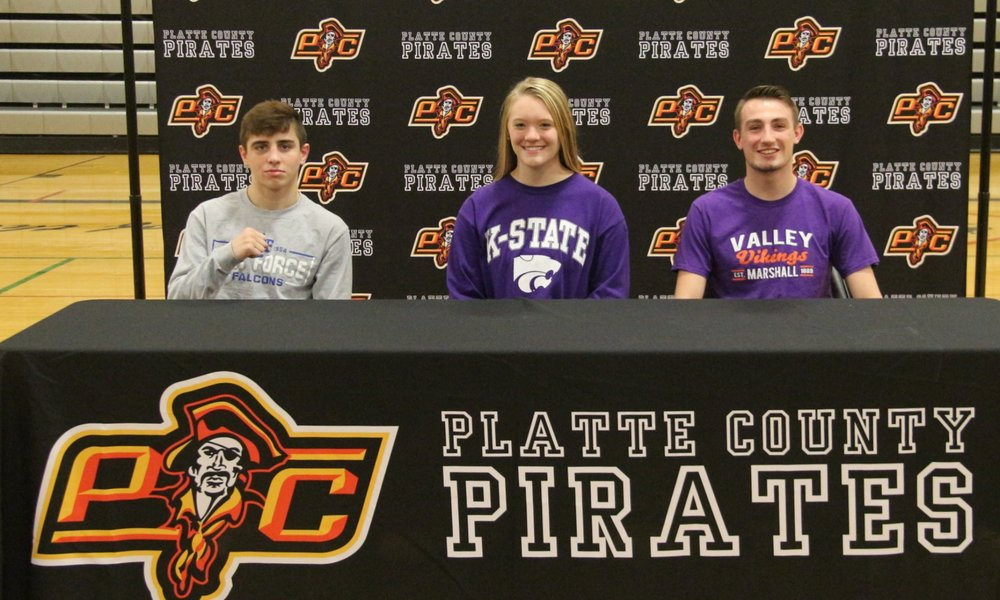 ROSS MARTIN/Citizen photo Platte County seniors, from left, Cody Phippen, Lauren Walker and Austin Kincaid were honored during a signing ceremony held Wednesday, Nov. 8 at Platte County High School.