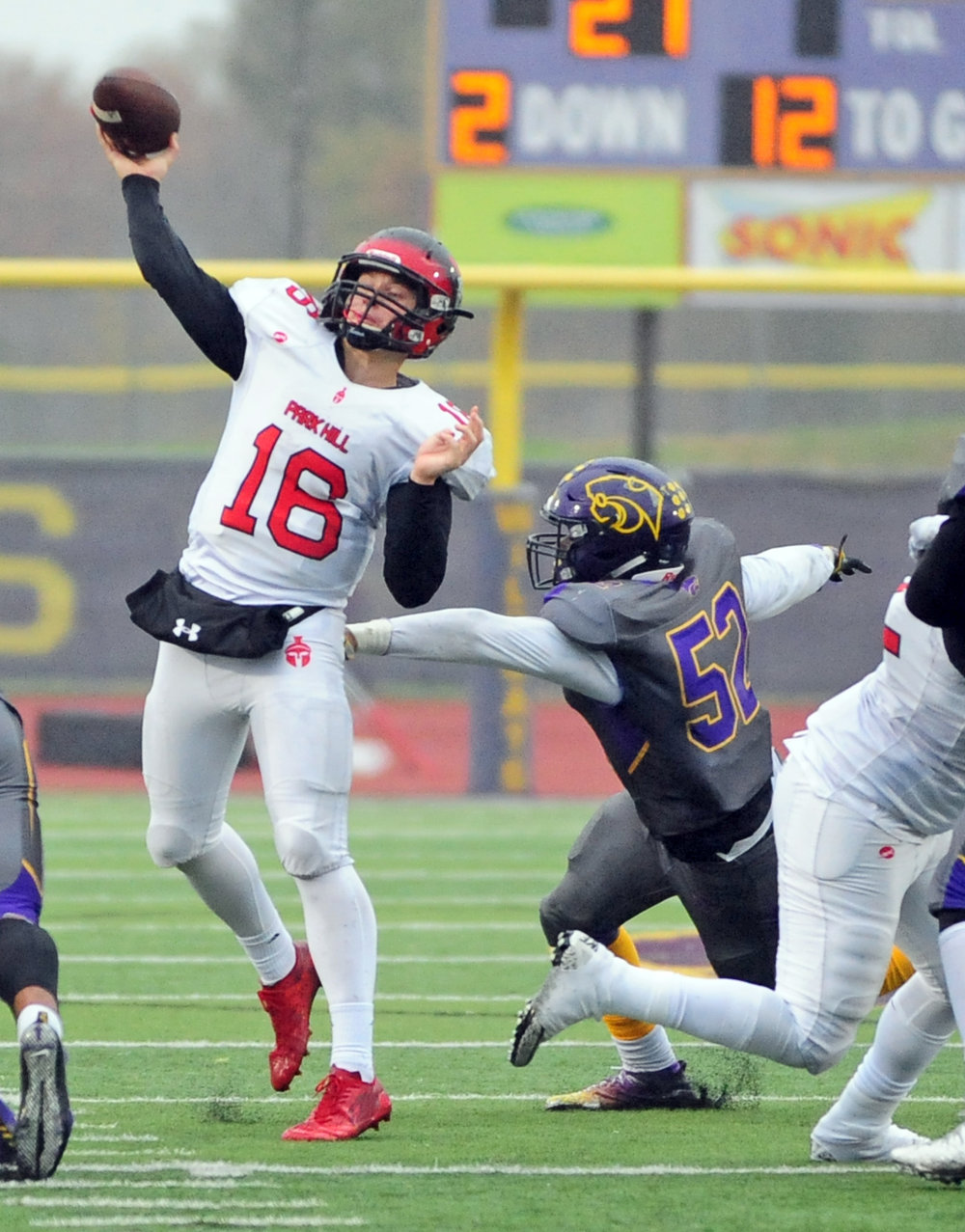 NICK INGRAM/Citizen photo Park Hill senior quarterback Billy Maples throws a pass during a Class 6 semifinal Saturday, Nov. 11 in Blue Springs, Mo.