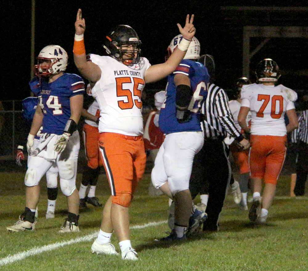 ROSS MARTIN/Citizen photo Platte County senior tackle Matt Blaha (55) signals touchdown after a play in the first half of a Class 4 quarterfinal against Moberly on Friday, Nov. 10 in Moberly, Mo.