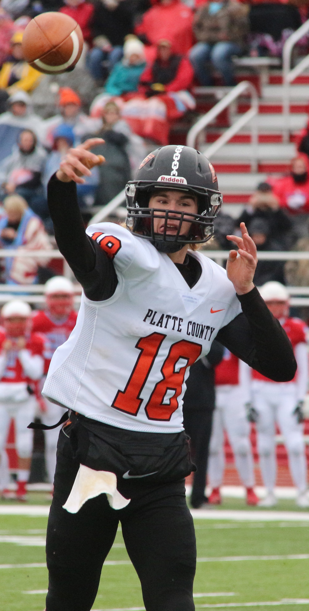 ROSS MARTIN/Citizen photo Platte County senior quarterback Tanner Clarkson throws a pass in a Class 4 semifinal Saturday, Nov. 18 at Cardinal Stadium in Webb City, Mo.