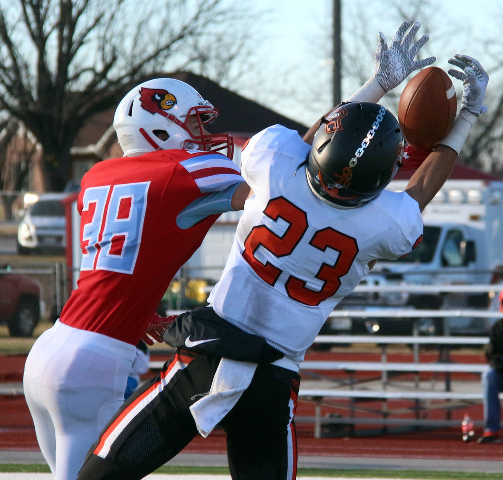 ROSS MARTIN/Citizen photo Platte County senior wide receiver John Watts (23) makes a catch against Webb City in a Class 4 semifinal Saturday, Nov. 18 in Webb City, Mo.