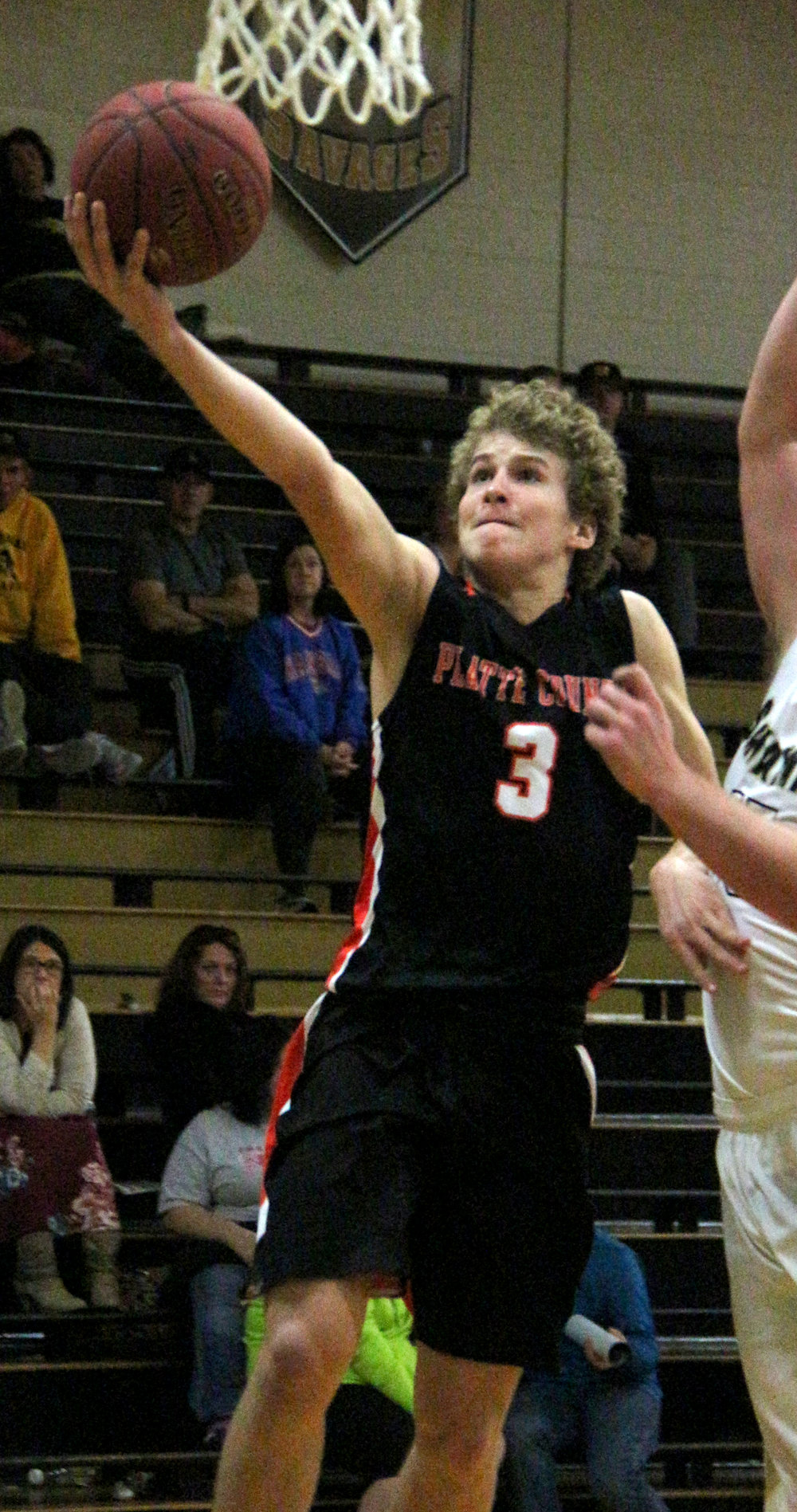 ROSS MARTIN/Citizen photo Platte County senior guard Nathen Mair goes in for a layup in a Savannah Invitational game against Savannah on Monday, Nov. 27 at Savannah High School in Savannah, Mo.