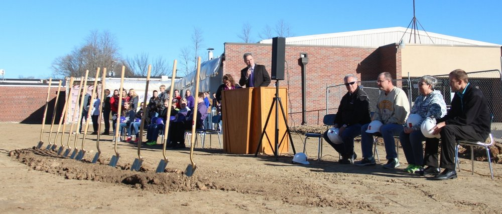 ROSS MARTIN/Citizen photo North Platte School District superintendent Dr. Karl Matt speaks to a crowd assembled for a groundbreaking ceremony Friday, Dec. 1 at the site of the new junior high building in Dearborn, Mo. Construction on the $5.4 million project is slated to begin this week.