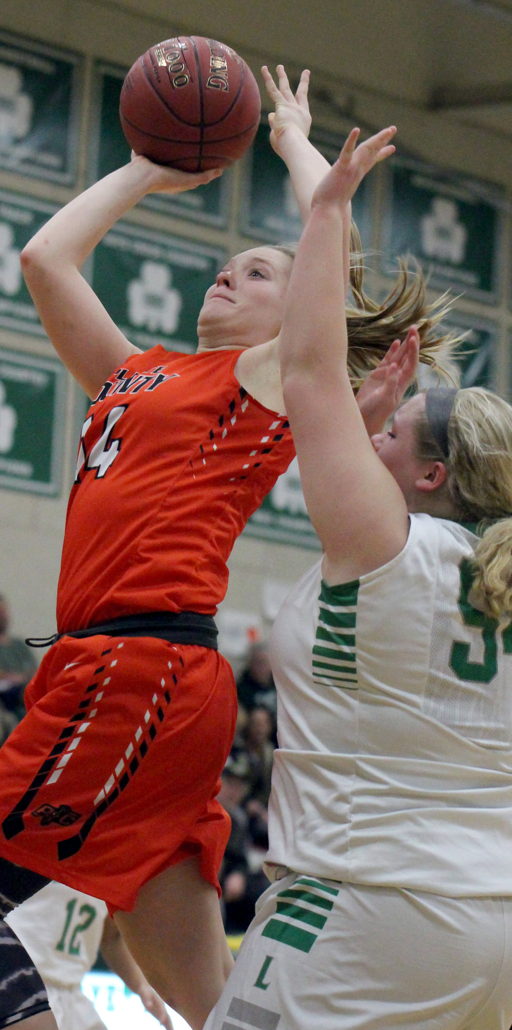 ROSS MARTIN/Citizen photo Platte County senior forward Lauren Walker takes a shot in traffic against Lafayette on Friday, Dec. 8 in St. Joseph, Mo.