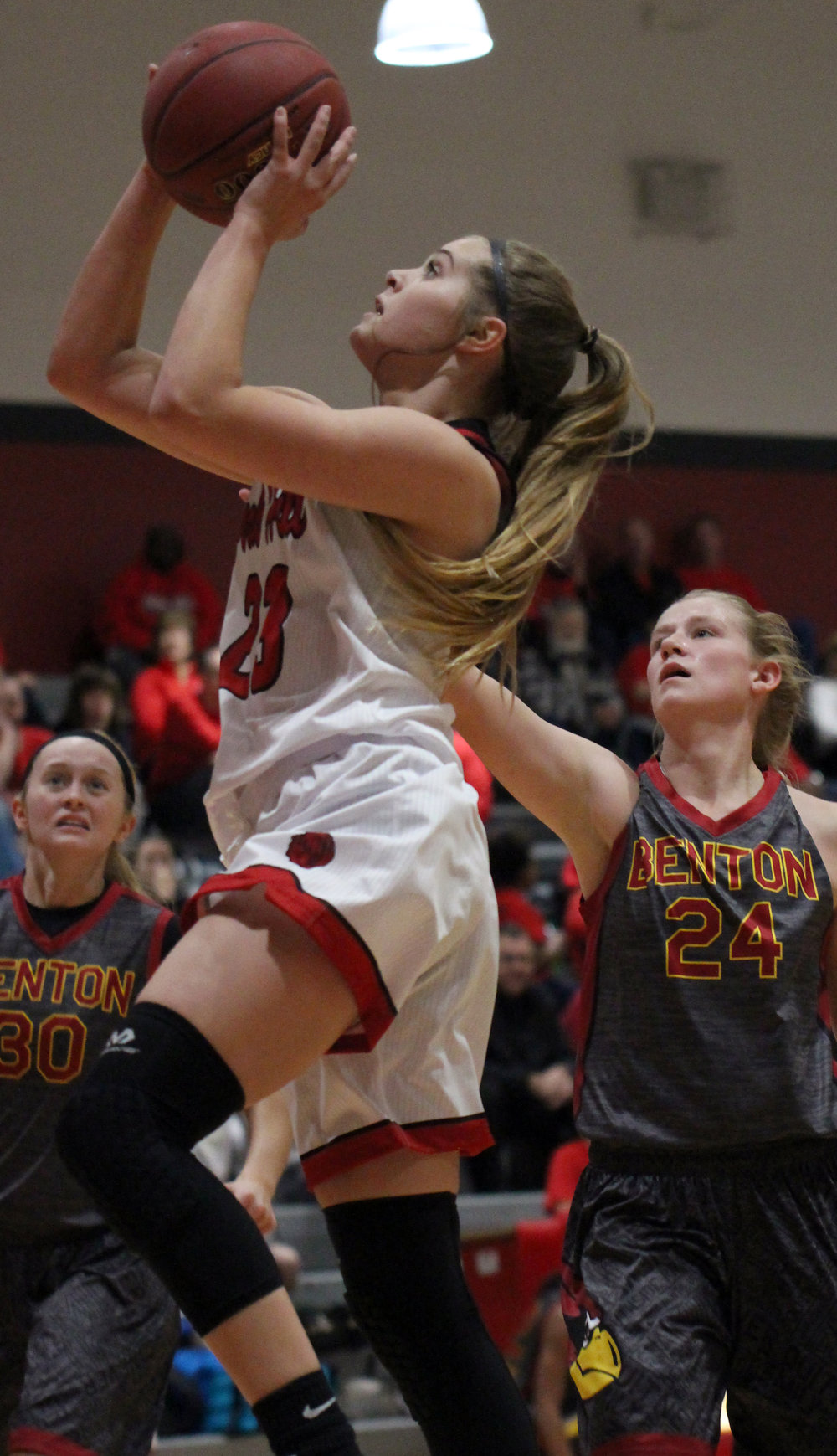ROSS MARTIN/Citizen photo Park Hill freshman Hannah Graves goes in for a layup against Benton on Thursday, Dec. 7 at Park Hill High School in Kansas City, Mo.
