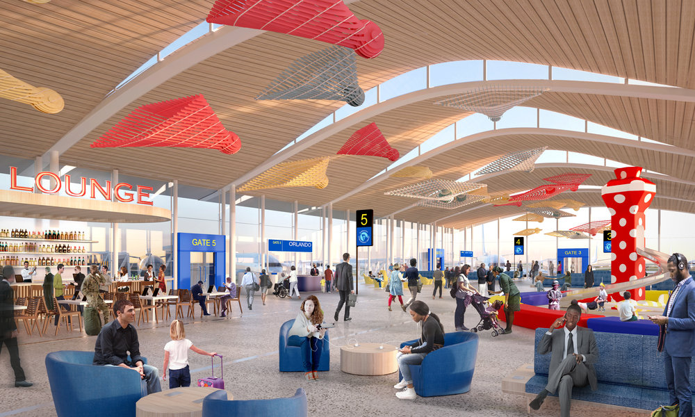 Contributed photo Edgemoor Infrastructure and Real Estate, a firm based out of Maryland, recently earned the bid from the Kansas City City Council to design and construct a new single terminal KCI Airport. This rendering released in September showed part of the concept for the plan.