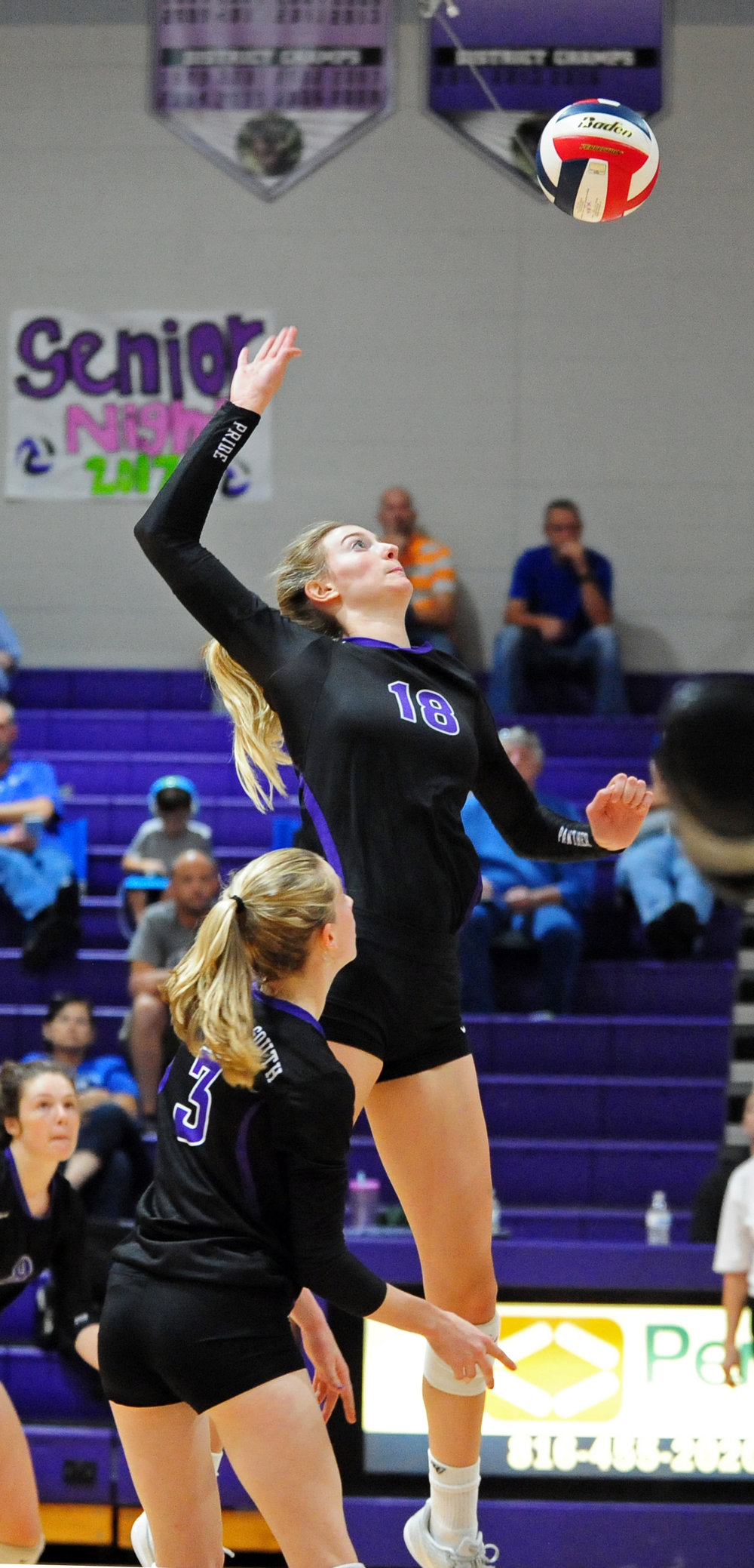 Citizen file photo Park Hill South senior Annika Welty prepares to hit a spike against Liberty during a match this past season.