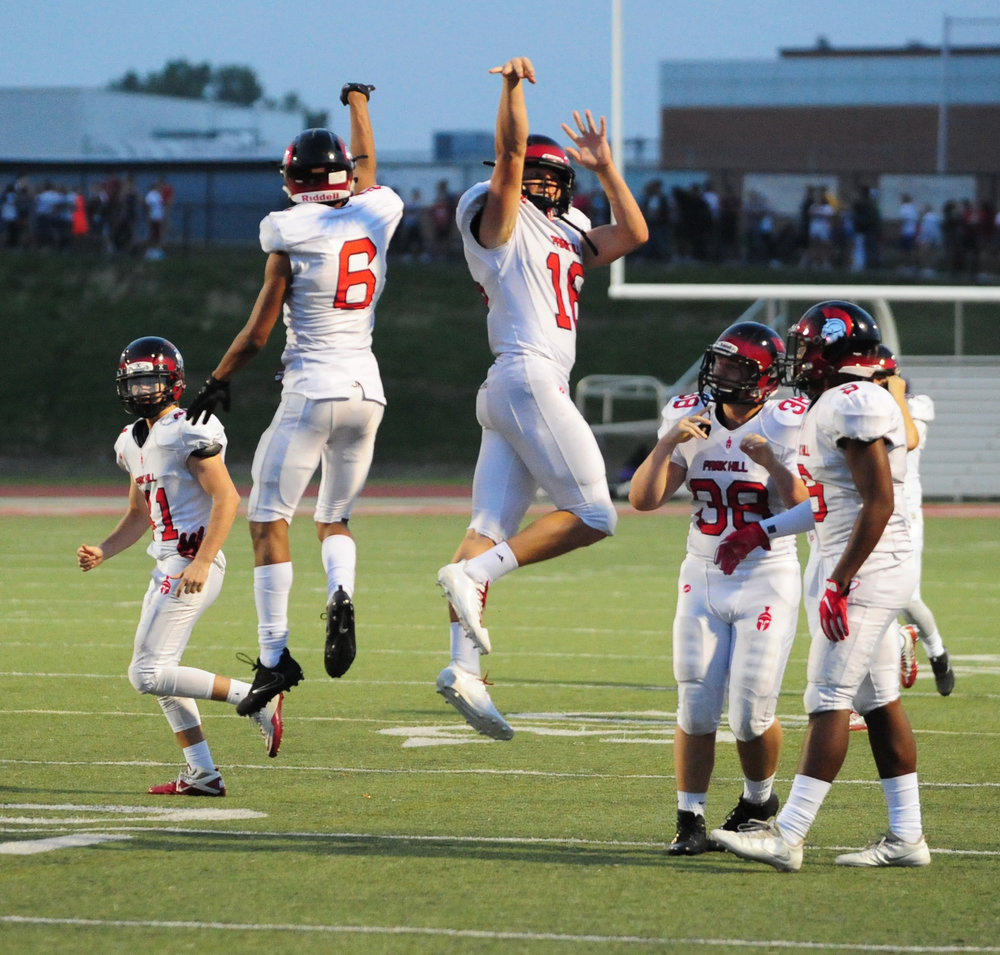 Citizen file photo Park Hill seniors Ronnie Bell (6) and Billy Maples celebrate a touchdown during a game this past season at Park Hill District Stadium in Kansas City, Mo.