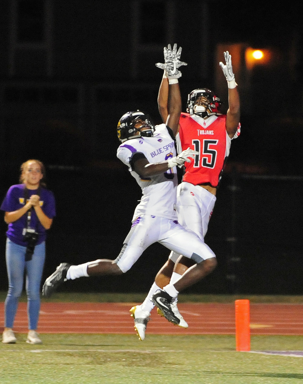 Citizen file photo Park Hill senior cornerback Devin Haney goes up for an interception against Blue Springs.