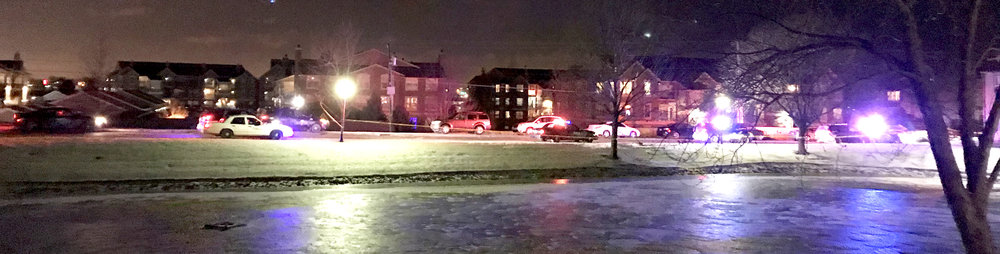 CODY THORN/Citizen photo Kansas City (Mo.) Police Department taped off part of The Lakes Apartment complex at 7301 NW Donovan Drive last Thursday following a shooting that injured two men in what the department is calling a drug deal gone bad.