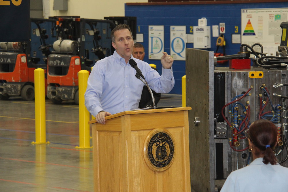 JEANETTE BROWNING  FAUBION/Citizen photo Missouri Gov. Eric Greitens talks about his proposed tax cut plan on Tuesday, Jan. 30, at U.S. Farathane in Riverside, Mo.