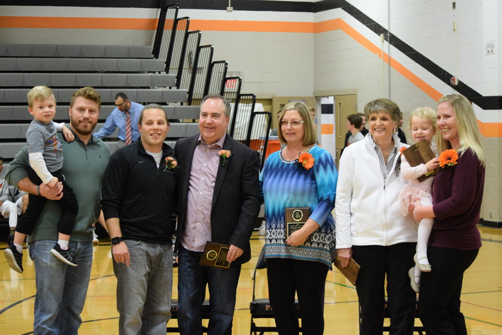 BRYCE MERENESS/Citizen photo The Platte County R-3 School District held its 2017-18 Pirates Hall of Fame inductions last Friday night. Those in attendance included Rennik Jaros, Nick Jaros, Todd Jaros, Robert Barmann, Camelia Barmann, Binny Pierce, Campbell Jaros and Megan Jaros.