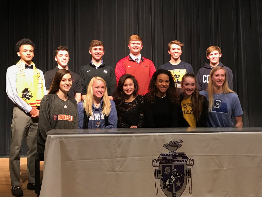BRYCE MERENESS/Citizen photo Park Hill South honored its signing class on Thursday, Feb. 15 in the auditorium of Park Hill South high School in Riverside, Mo. There were 13 athletes who signed to continue their respective athletic careers next year. Those honored at the ceremony included front row, from left: Raquel Reid (basketball Missouri Valley), Paige Riekhof (swimming, Kansas), Ryanne Serrone (soccer, Washburn), Lia Fricke (soccer, Washburn), Emma Roth (track and field and cross country, Missouri) and Annika Welty (volleyball, Creighton) and back row, from left: Isaiah McGilchrist (soccer, Park), Dominick Scuderio (baseball, Coffeyville CC), Zach Nay (soccer, Truman), Ben Becker (football, South Alabama), Eli Guzman (cross country, Webster) and Ewan Fricke (cross Country, Colby College). not pictured Abby Norris (tennis, Texas Wesleyan)