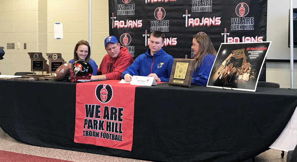 CODY THORN/Citizen Photo Park Hill quarterback Billy Maples signs to play at Division I Kansas.