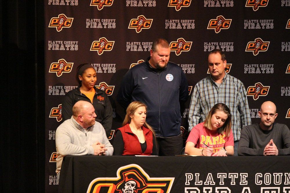 Kaylyn Hathaway, front row, second from right, will play soccer at Park University in Parkville, Mo.