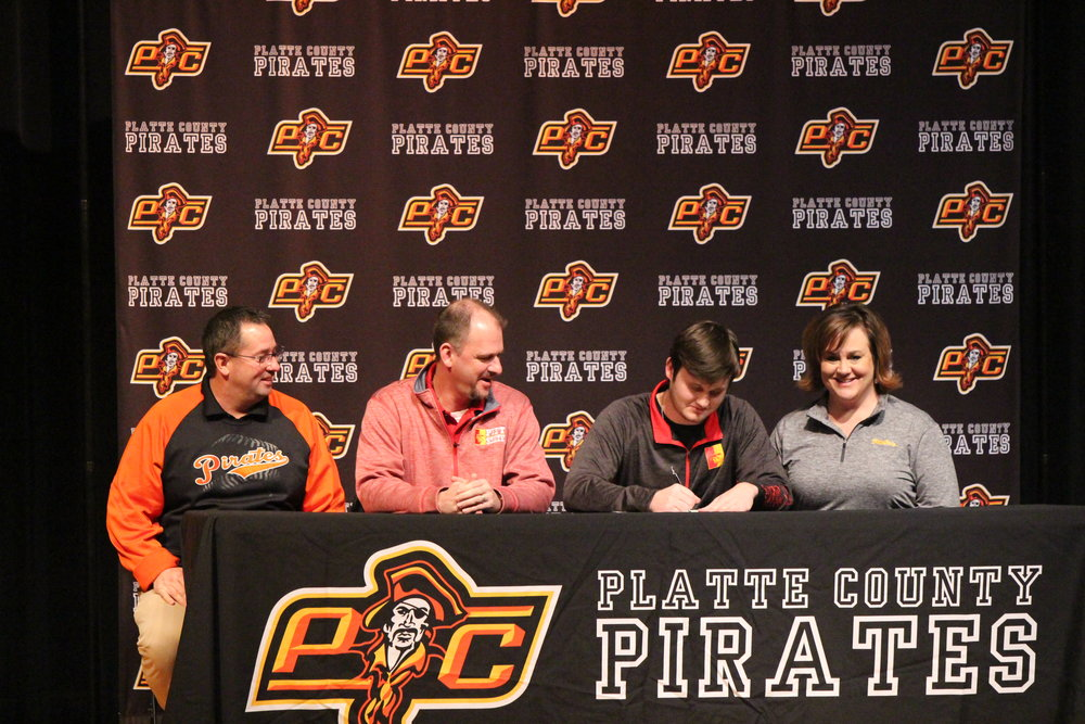 Max Hunter, third from left, will play baseball at Pittsburg State University.