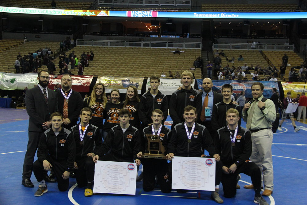 CODY THORN/Citizen Photo The Platte County wrestlers, coaches and managers pose for a picture after taking third place in the Class 3 team standings at the Missouri State High School Wrestling State Championships at Mizzou Arena in Columbia, Mo. It was the Pirates' 14th total team trophy dating back to 1991.