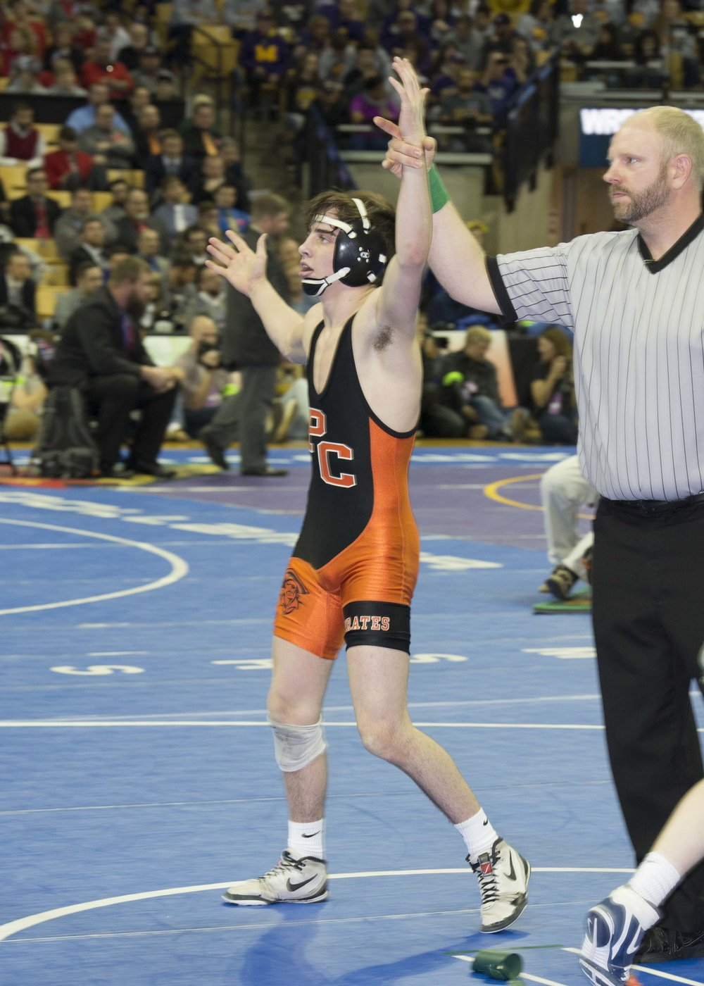 DAVID BREDESON/Special to the Citizen Platte County senior Cody Phippen has his arm raised by the official after winning the Class 3 126-pound championship at the Missouri State Wrestling Championship on Saturday, Feb. 17 at Mizzou Arena in Columbia, Mo.